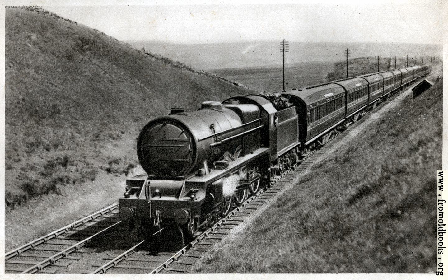 "[Picture: 1.—""Royal Scot"" train, near Shap summit, Engine No. 6134 ""Samson""]"