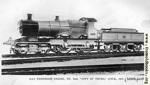 "[Picture: 4-4-0 Engine ""City of Truro""]"