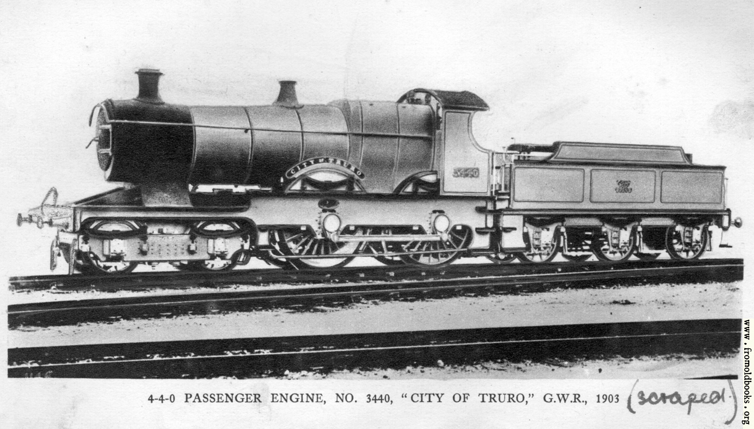 "[Picture: 28.—4-4-0 Engine ""City of Truro""]"
