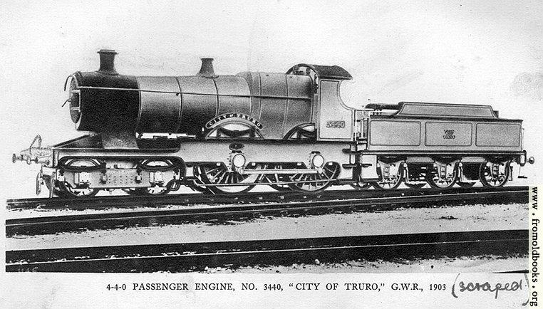 "[Picture: 28.—4-4-0 Engine ""City of Truro""]"