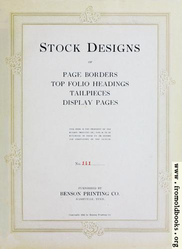 [Picture: Title Page, Benson Stock Images]