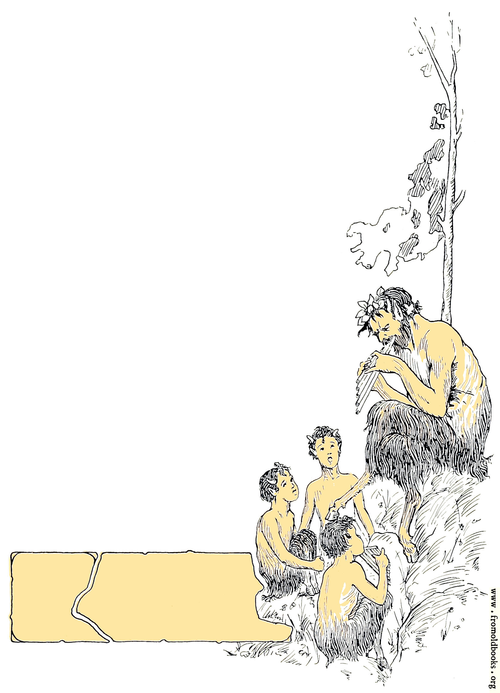 [Picture: Faun playing pipes to his children]