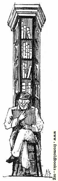 [Picture: Man reads in front of tall bookcase]
