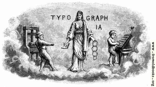 [Picture: Typographia and cherubs setting type]