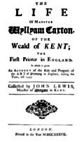 Title page from Lewis' Life of William Caxton