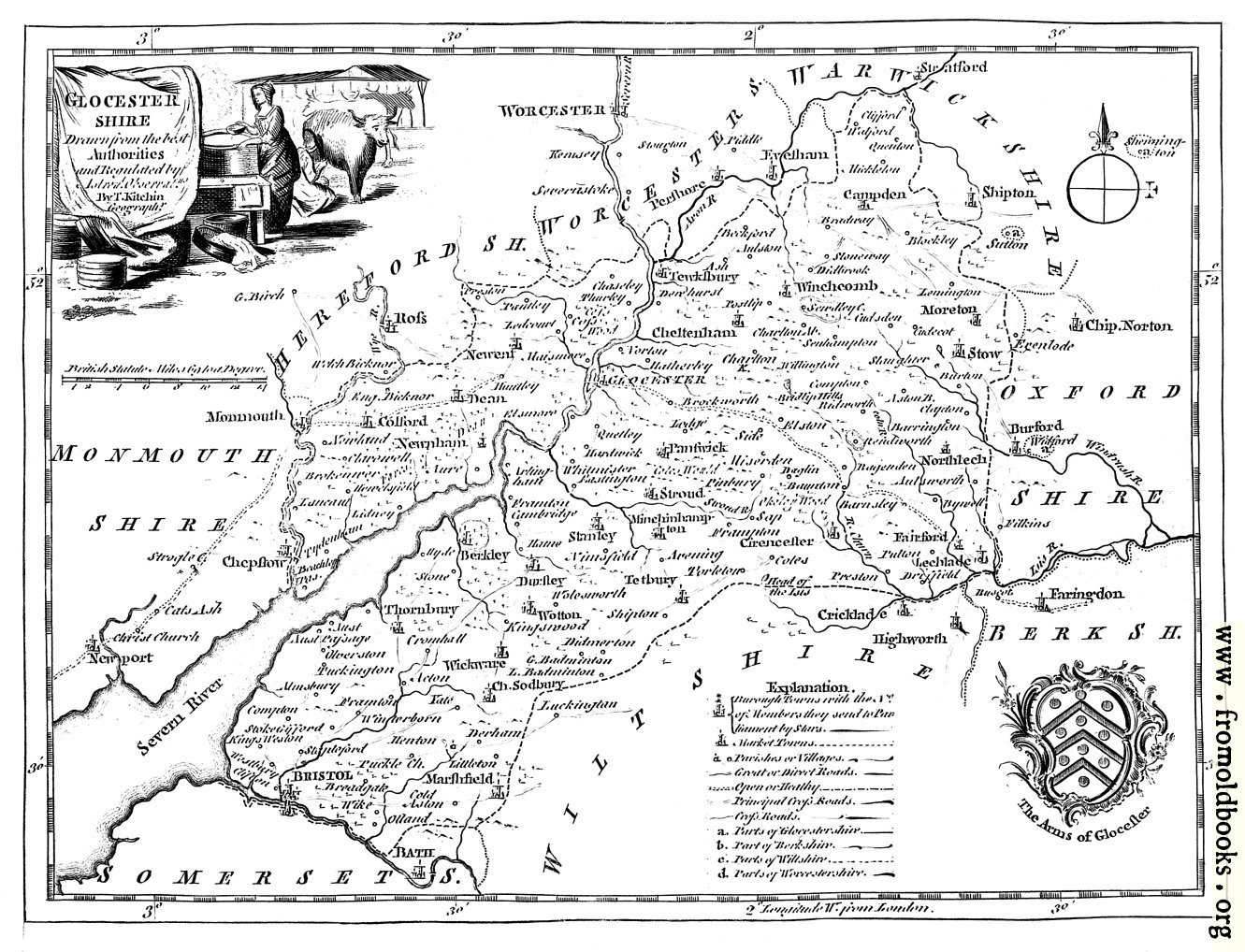 EighteenthCentury Map of Gloucestershire