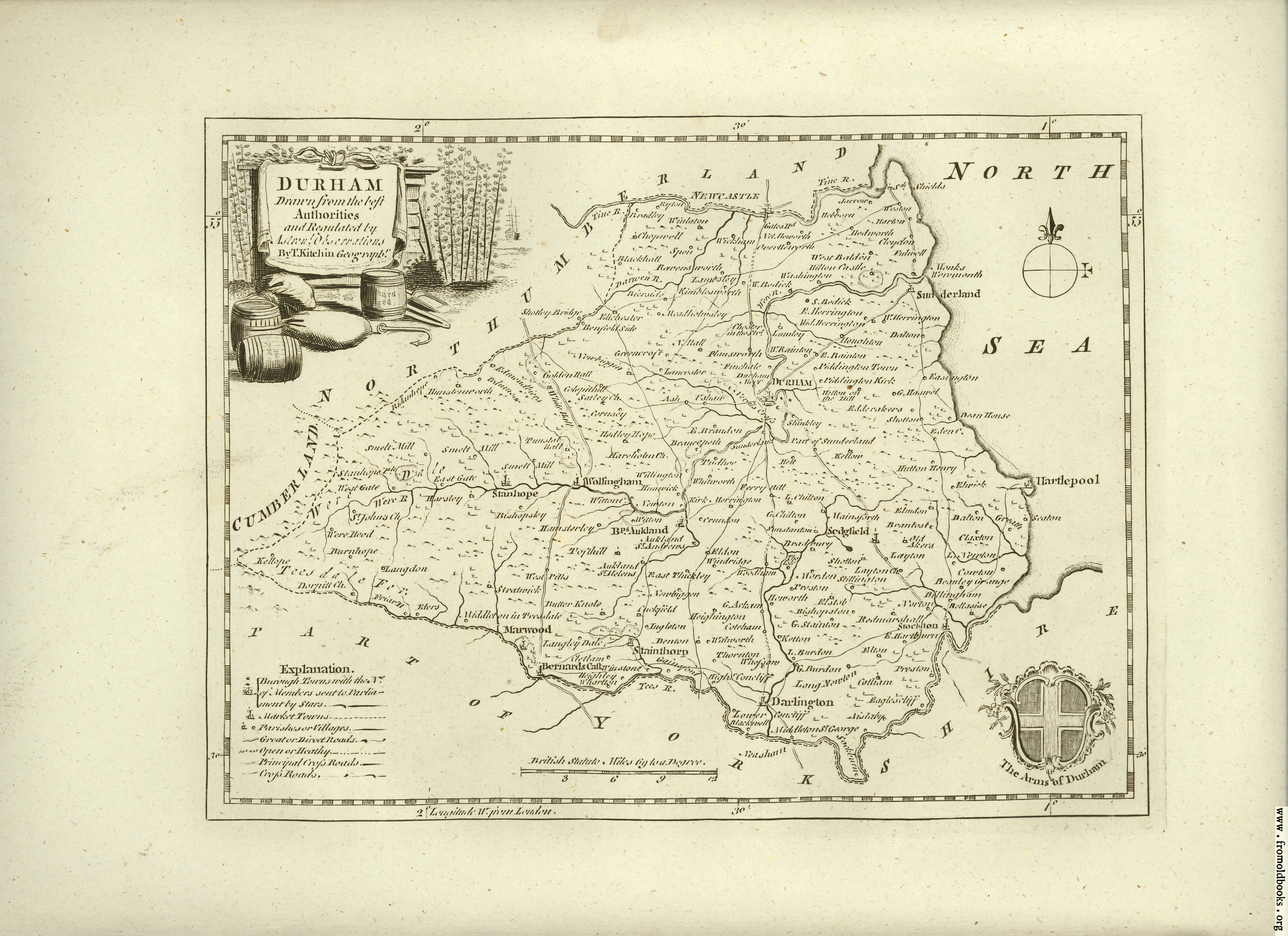 [Picture: Antique Map of Durham]