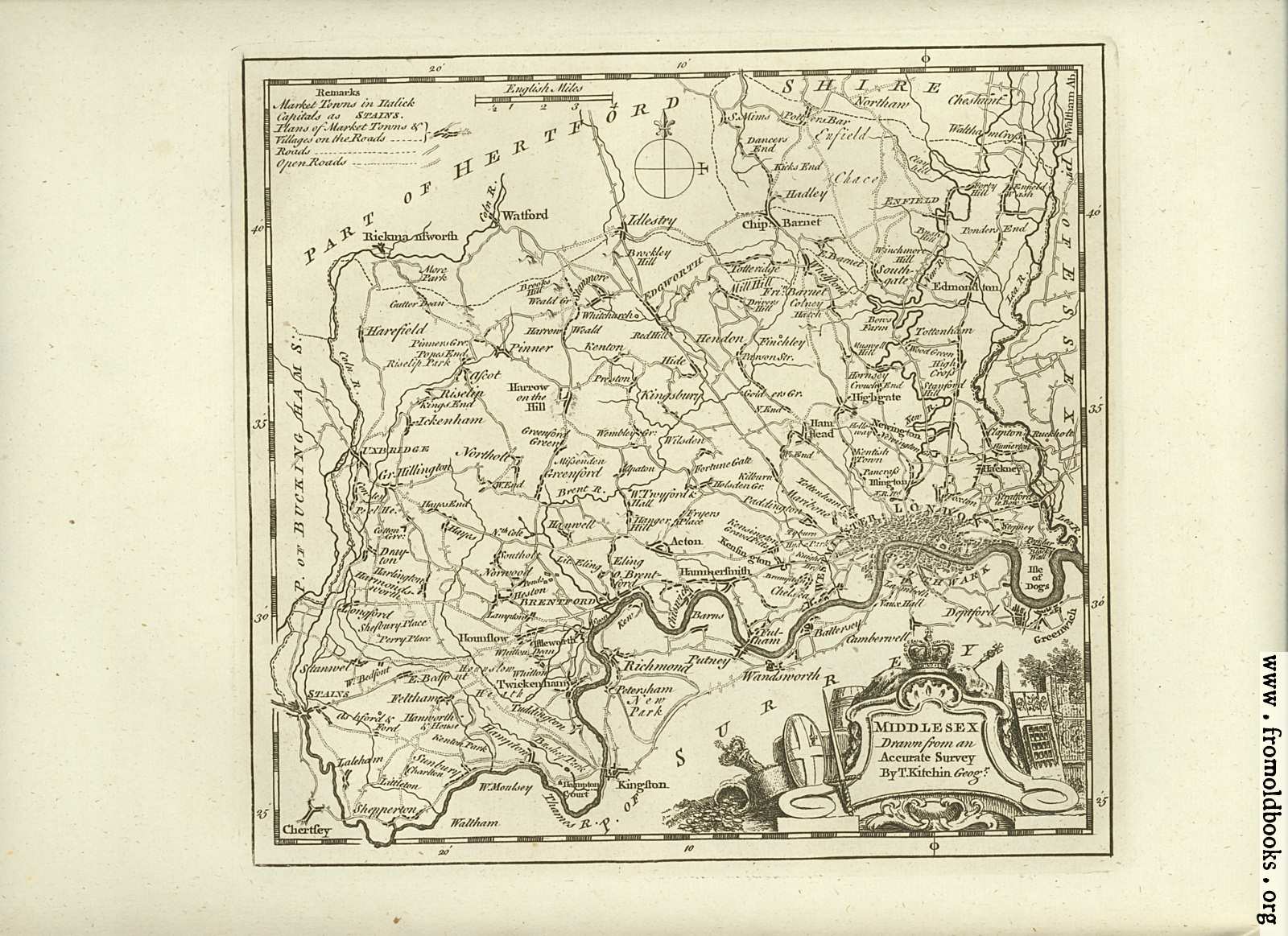 [Picture: Antique Map of Middlesex]