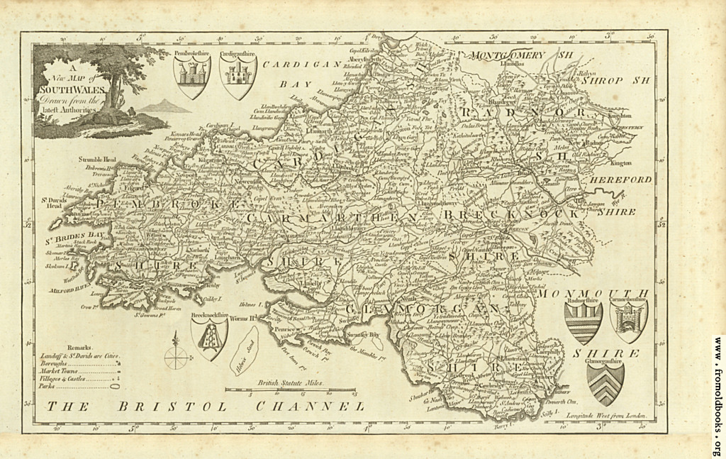 [Picture: Antique Map of South Wales]
