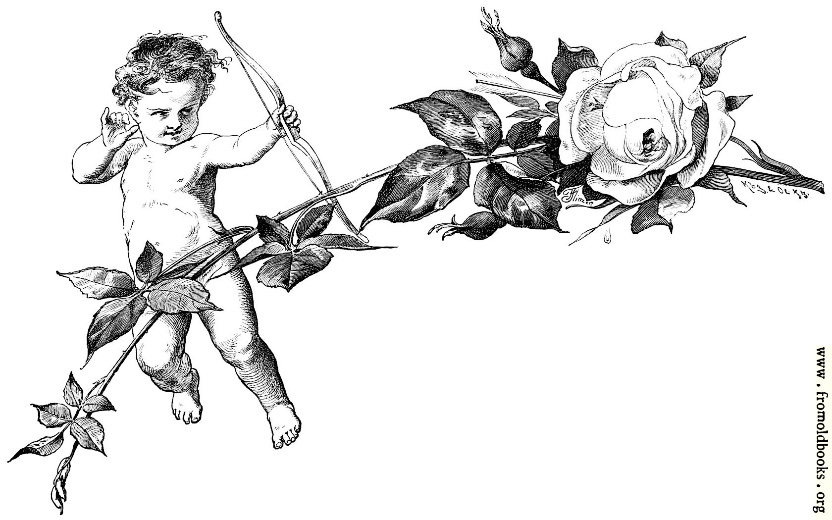[Picture: Cupid and rose briar]