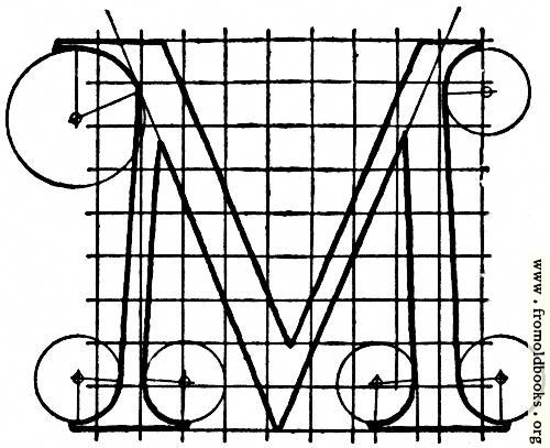"[Picture: Letter M from ""Alphabet after Serlio""]"