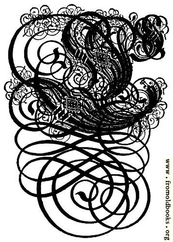 [Picture: German Gothic Initials - Swirly Fraktur Blackletter Initial Letter C]