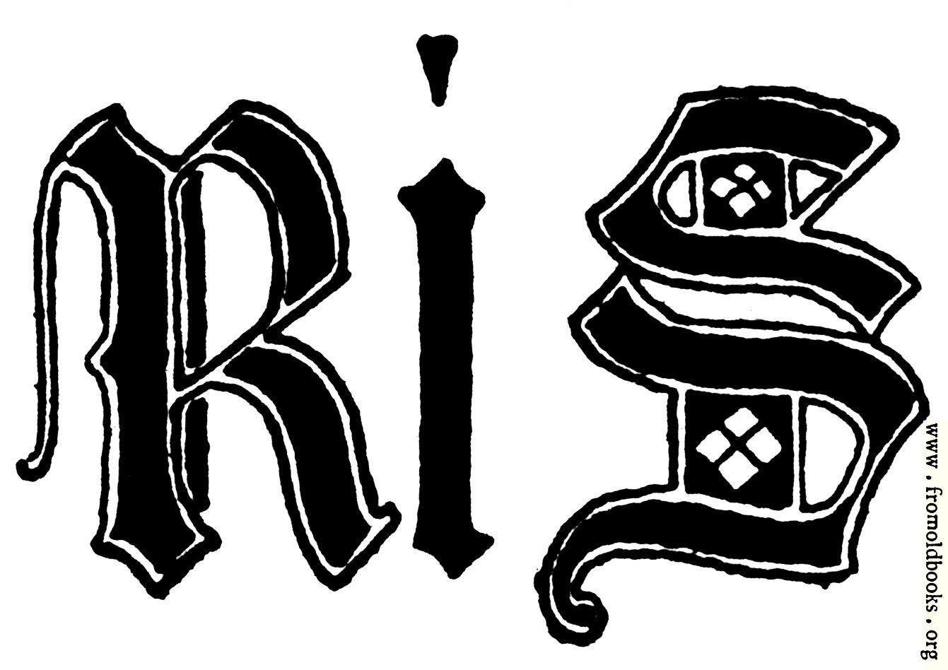 Letters r and s from english gothic letters th century