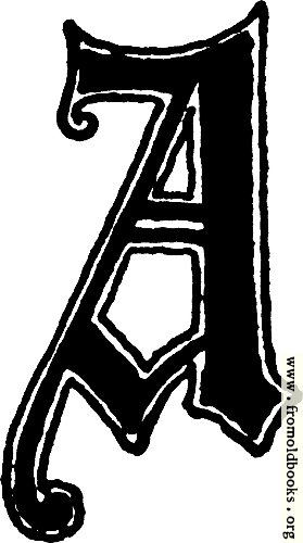 "[Picture: Calligraphic letter ""A"" in 15th century gothic style]"