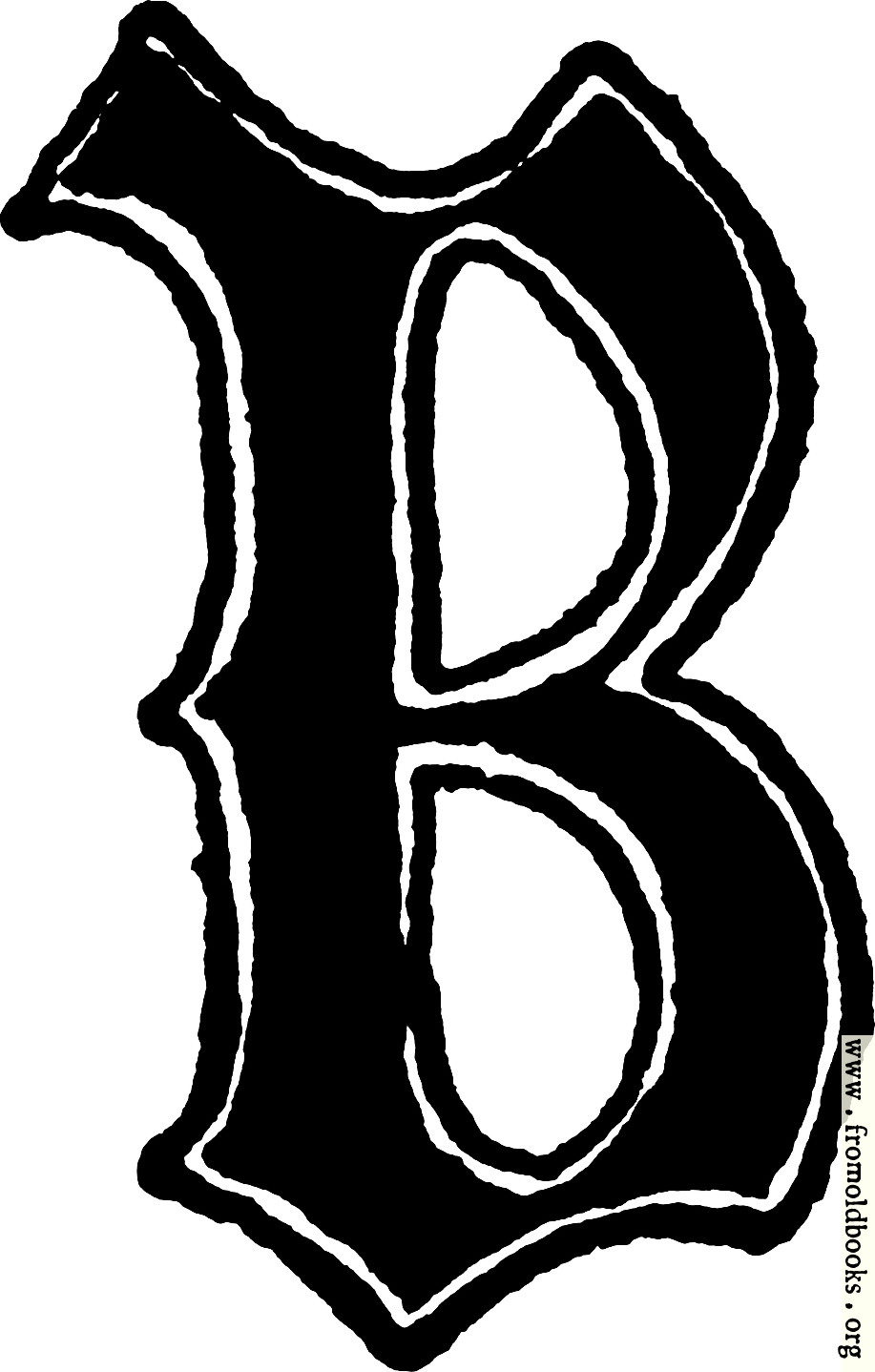 "Calligraphic letter ""B"" in 15th century gothic style"
