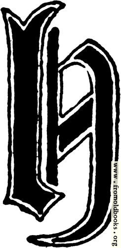 "[Picture: Calligraphic letter ""H"" in 15th century gothic style]"