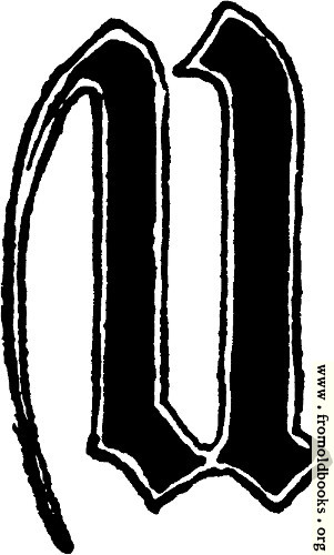 "[Picture: Calligraphic letter ""U"" in 15th century gothic style]"