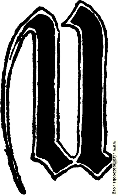 """[Picture: Calligraphic letter """"U"""" in 15th century gothic style]"""