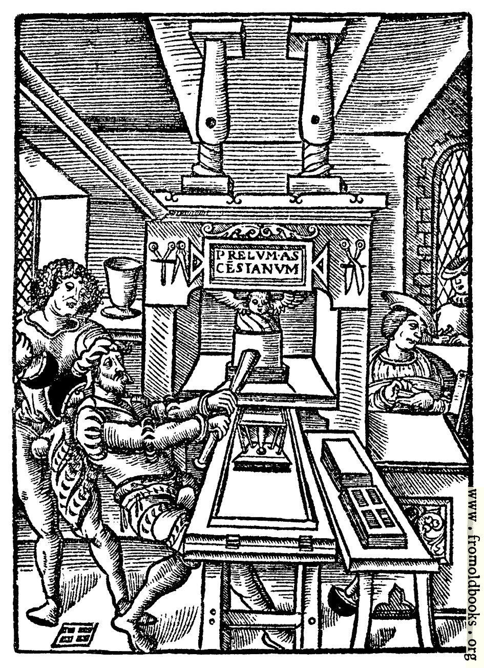 [Picture: 8.—Detail: Printing Page Woodcut]