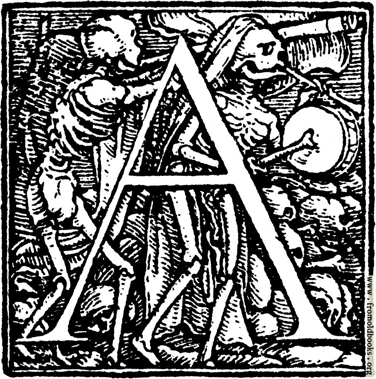 """[Picture: 62a.—Initial capital letter """"A"""" from Dance of Death Alphabet]"""