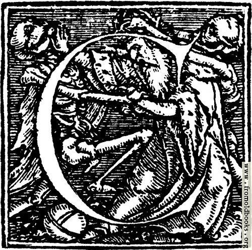 "[Picture: 62c.—Initial capital letter ""C"" from Dance of Death Alphabet]"
