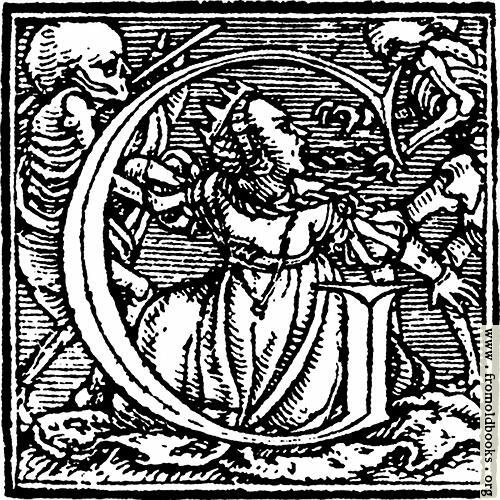 "[Picture: 62g.—Initial capital letter ""G"" from Dance of Death Alphabet.]"