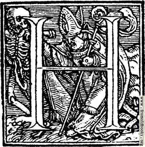 "[Picture: 62h.—Initial capital letter ""H"" from Dance of Death Alphabet.]"