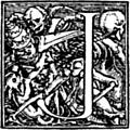 """[Picture: 62j.—Initial capital letter """"J"""" for Dance of Death Alphabet.]"""