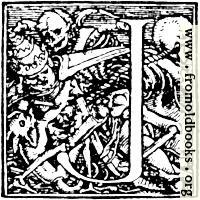 "62j.—Initial capital letter ""J"" for Dance of Death Alphabet."