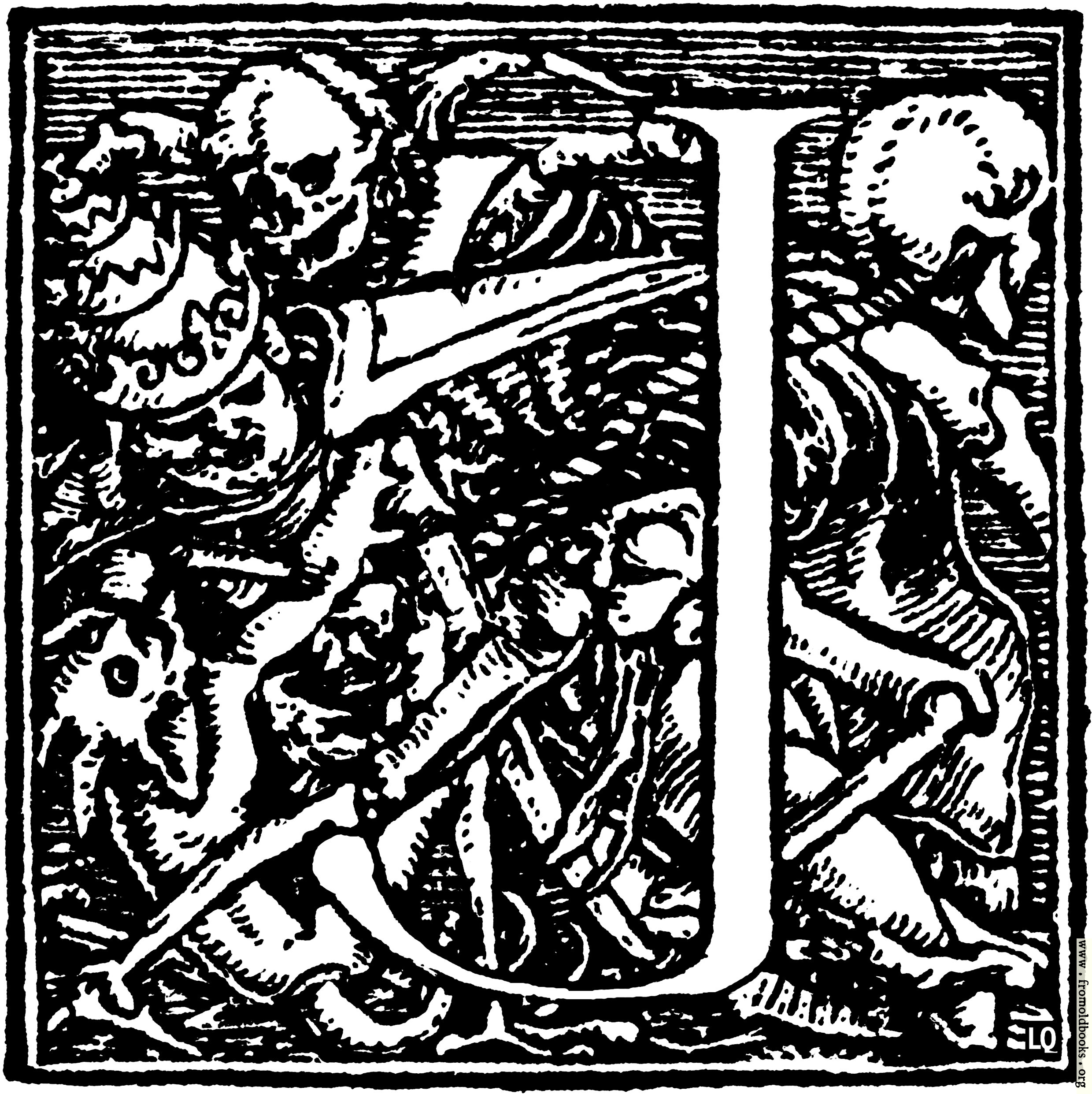 "[Picture: 62j.—Initial capital letter ""J"" for Dance of Death Alphabet.]"