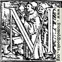 """[Picture: 62m.—Initial capital letter """"M"""" from Dance of Death Alphabet.]"""