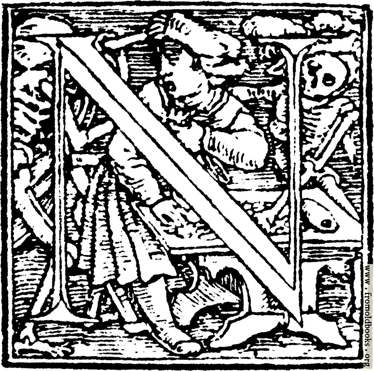 """[Picture: 62n.—Initial capital letter """"N"""" from Dance of Death Alphabet.]"""