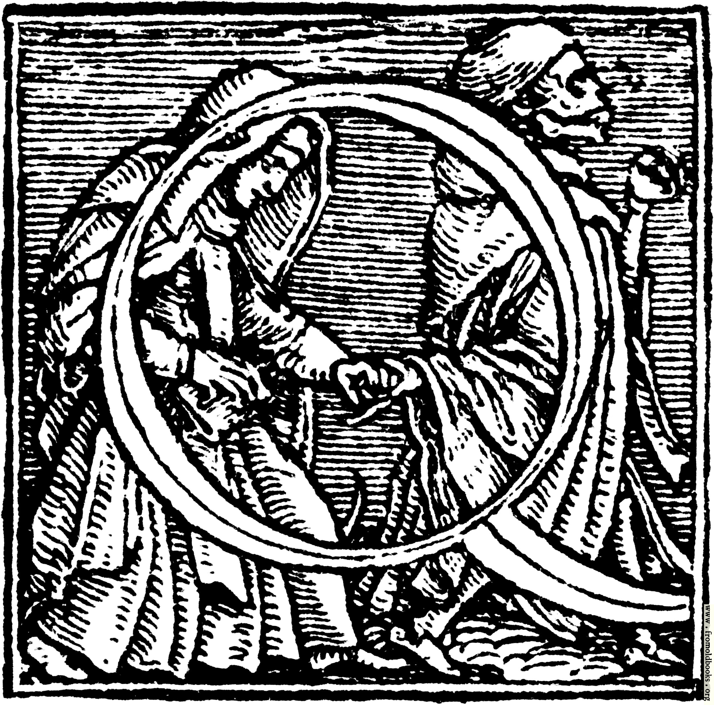 """[Picture: 62q.—Initial capital letter """"Q"""" from Dance of Death Alphabet.]"""