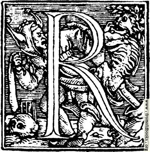 "[Picture: 62r.—Initial capital letter ""R"" from Dance of Death Alphabet.]"
