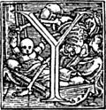 """[Picture: 62y.—Initial capital letter """"Y"""" from Dance of Death Alphabet.]"""