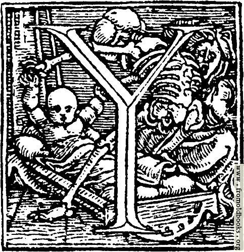 "[Picture: 62y.—Initial capital letter ""Y"" from Dance of Death Alphabet.]"