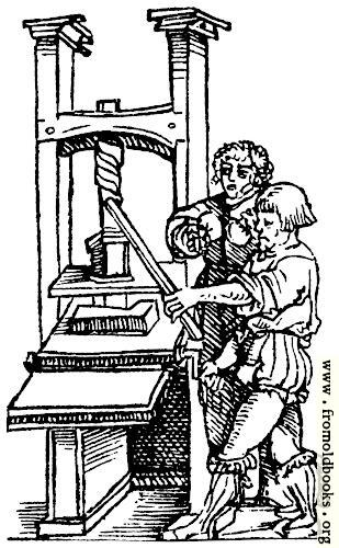 [Picture: Printing press, detail from border]