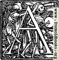 [picture: 62a.---Initial capital letter ``A'' from Dance of Death Alphabet]