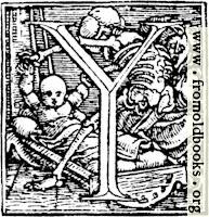[picture: 62y.---Initial capital letter ``Y'' from Dance of Death Alphabet.]