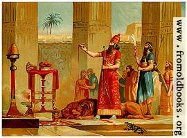 [picture: Ashurbanipal sacrificing the lions he has killed]