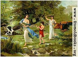 [Picture: Greek family returning from the harvest.]