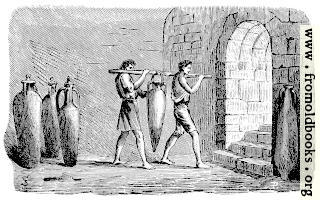 [Picture: Roman slaves carrying an amphora]