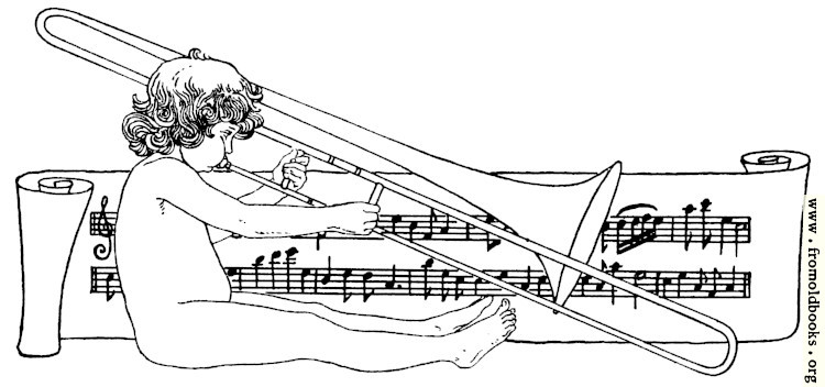 [Picture: Drawing of naked child playing trombone with scroll of music]