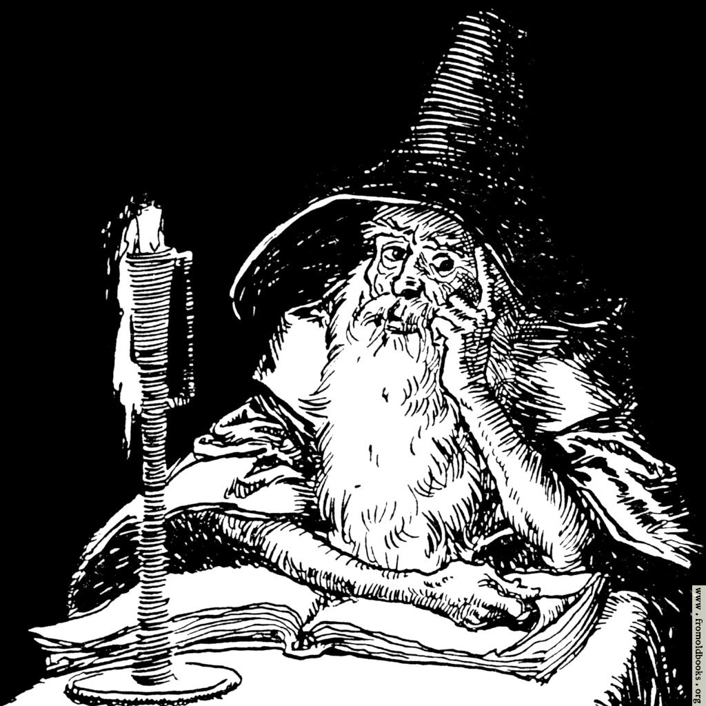 [Picture: Wizard with book and candle]