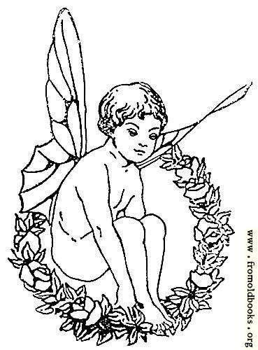 [Picture: Winged fairy boy sitting in wreath]