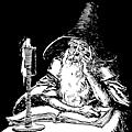 Wizard with book and candle