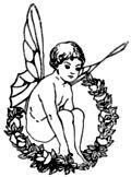 Winged fairy boy sitting in wreath