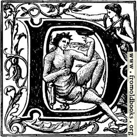 """[Picture: Initial Capital Letter """"D"""" with Bacchus]"""