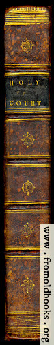 [Picture: Holy Court Book decorated leather spine]