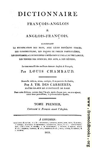 [Picture: Title Page, Chambaud's Dictionary]